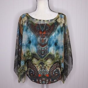 Live and Let Live Boho Printed Blouse Size M